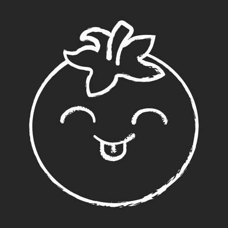 Tomato cute kawaii chalk character. Happy vegetable with smiling face and stuck out tongue. Laughing food. Funny emoji, emoticon, smile. Vector isolated chalkboard illustration Illustration