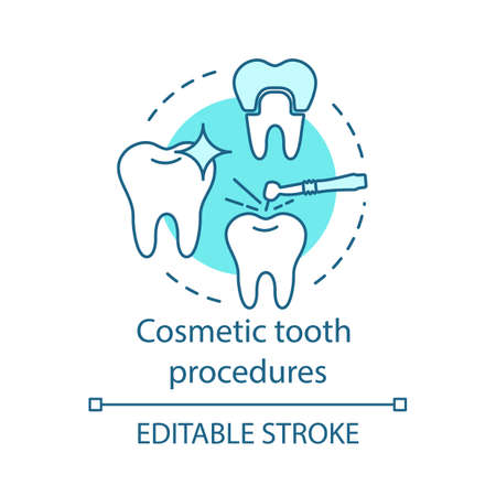 Cosmetic tooth procedures concept icon. Dental therapy, whitening and restoration. Tooth treatment, setting crown idea thin line illustration. Vector isolated outline drawing. Editable stroke