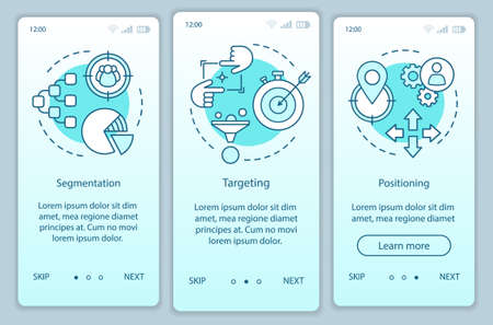 STP turquoise gradient onboarding mobile app page screen vector template. Market positioning walkthrough website steps with linear illustrations. UX, UI, GUI smartphone interface concept 向量圖像