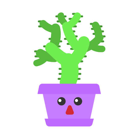 Teddy bear cholla flat design long shadow color icon. Cactus with astonished face. Unhappy Cylindropuntia. Home cacti in pot. Tropical plant. Houseplant. Succulent. Vector silhouette illustration  イラスト・ベクター素材