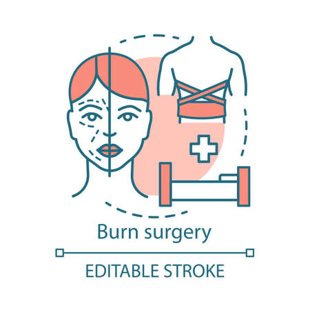 Burn surgery concept icon. Burn and wound treatment idea thin line illustration. Reconstructive plastic surgery. Vector isolated outline drawing. Plastic surgeons. Editable stroke Illustration
