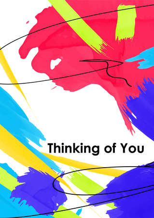 Thinking of you vector postcard template. Romantic message for sweetheart on colorful paint strokes background. Inspiring phrase. Chaotic acrylic smudges greeting card, banner, poster Illusztráció