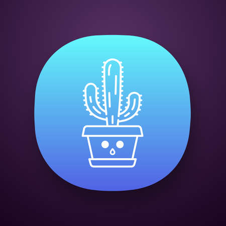 Elephant cactus app icon. Pachycereus with hushed face. Home cacti in pot. Mexican giant cardon. Amazed plant. UI/UX user interface. Web or mobile application. Vector isolated illustration