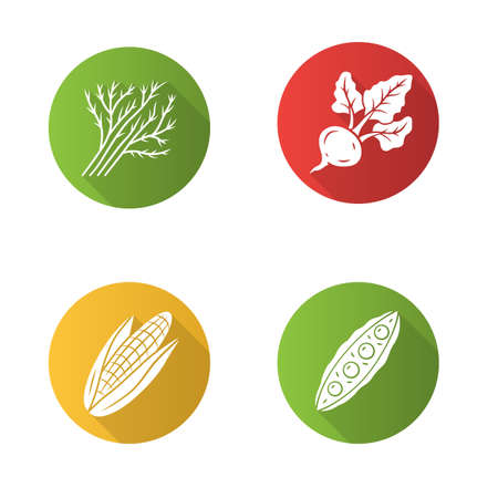 Vegetables flat design long shadow glyph icons set. Corn, dill, beet, pea. Vitamin and diet. Healthy nutrition. Salad ingredient. Vegan food. Vector silhouette illustration