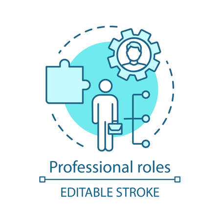 Professional roles turquoise concept icon.Functions, responsibilities and duties of profession member idea thin line illustration. Employer, employee. Vector isolated outline drawing. Editable stroke