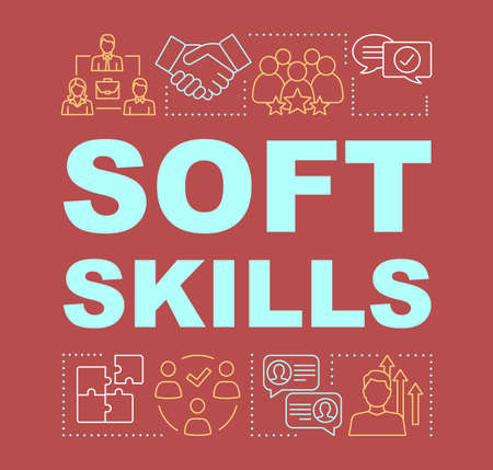 Soft skills word concepts banner. Interpersonal development, professional relationship. Human resources presentation. Isolated typography idea with linear icons. Vector outline illustration