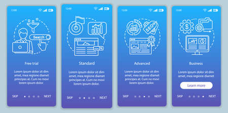 SEO keyword tool subscription onboarding mobile app page screen vector template. Walkthrough website steps with linear illustrations. Standard tariff. UX, UI, GUI smartphone interface concept