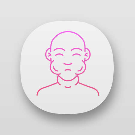 Face swelling app icon. Anaphylaxis, allergy. Peanut severe allergic reaction. UI/UX user interface. Mumps contagious disease. Web or mobile application. Vector isolated illustration
