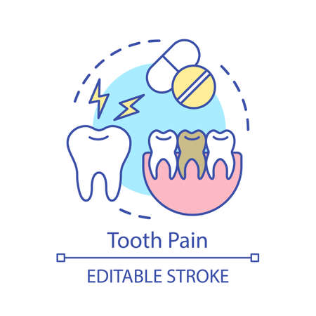 Tooth pain concept icon. Tooth hurts, painkillers, jaw fragment. Taking analgesics. Toothache and pills idea thin line illustration. Vector isolated outline drawing. Editable stroke