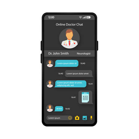 Médecin en ligne discutant avec un modèle vectoriel d'interface de smartphone. Disposition de l'application mobile de soins de santé. Écran de consultation de médecin en ligne. Interface utilisateur plate pour application médicale. Chat en direct avec affichage du téléphone du thérapeute