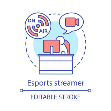 Esports streamer concept icon. Cyber sport commentator at work. Watching video stream. Blogger broadcasting idea thin line illustration. Vector isolated outline drawing. Editable stroke