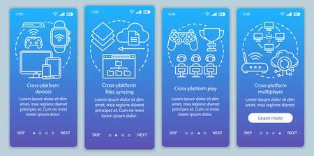 Cross platform connection onboarding mobile app page screen vector template. Cloud computing technology. Walkthrough website steps with linear illustrations. UX, UI, GUI smartphone interface concept
