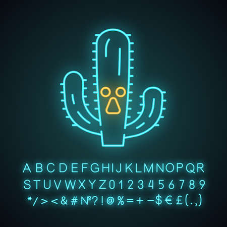Elephant cactus cute kawaii neon light character. Pachycereus with astonished face. Wild cacti. Funny emoji, emoticon. Glowing icon with alphabet, numbers, symbols. Vector isolated illustration