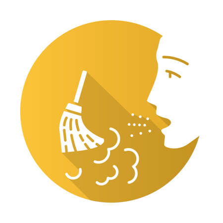 Dust allergy flat design long shadow glyph icon. Airborne allergen source. Allergic reaction of immune system. Man breathes house dust. Respiratory disease. Vector silhouette illustration