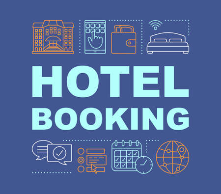 Hotel booking word concepts banner. Apartment reservation. Presentation, website. Isolated lettering typography idea with linear icons. Choose amenities, dates. Vector outline illustration  イラスト・ベクター素材