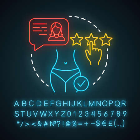 Enjoy result neon light icon. Cosmetic procedure. Plastic surgery center. Liposuction. Body change. Glowing sign with alphabet, numbers and symbols. Vector isolated illustration