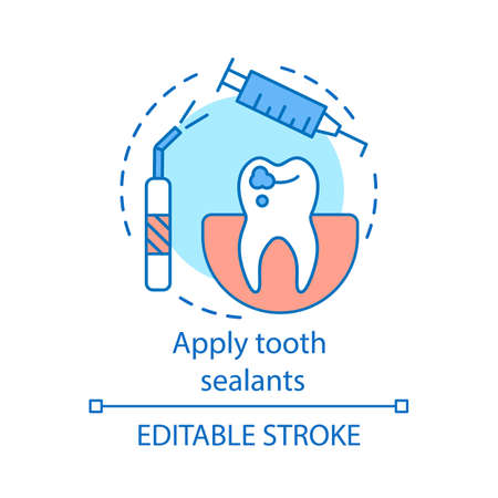 Apply tooth sealants concept icon. Fissure and pits sealing. Coating for teeth. Treatment for caries prevention idea thin line illustration. Vector isolated outline drawing. Editable stroke