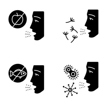 Allergies glyph icons set. Food, pollen, bacteria intolerance. Allergen sources. Allergic diseases. Medical problem. Cause of swelling. Silhouette symbols. Vector isolated illustration