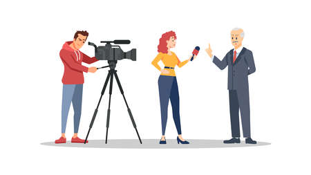 Journalist interviewing politician flat vector illustration. Video operator, correspondent and famous person cartoon characters. Mass media, press, TV industry concept. Reporter and cameraman working