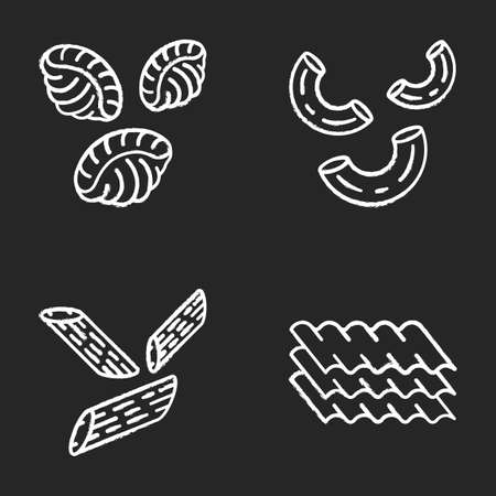 Pasta noodles chalk icons set. Different Mediterranean macaroni. Shells, elbows, penne, lasagne sheets. Types of dry dough products. Italian cuisine. Isolated vector chalkboard illustrations 일러스트