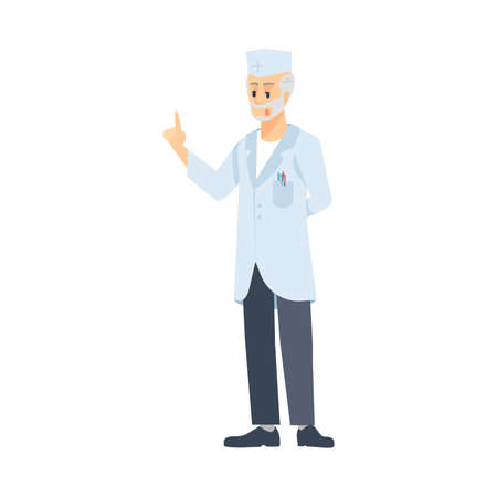 Senior doctor flat vector illustration. Professional surgeon isolated cartoon character on white background. Cardiologist, gastroenterologist, pediatrician. Therapist, practitioner. Medical worker