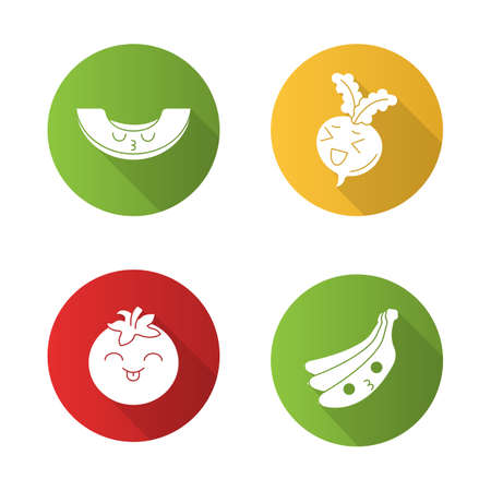 Vegetables and fruits cute kawaii flat design long shadow glyph characters set. Tomato with smiling face, kissing banana, melon. Funny emoji, emoticon, smile. Vector isolated silhouette illustration