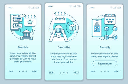 AR tool subscription onboarding mobile app page screen vector template. Monthly or annually tariffs. Walkthrough website steps with linear illustrations. UX, UI, GUI smartphone interface concept