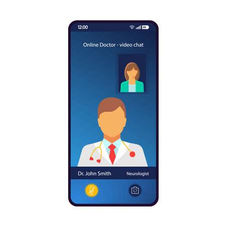 Plantilla de vector de interfaz de teléfono inteligente de consulta médica en línea. Diseño de diseño azul de la página de la aplicación móvil. Video chat, cita médica con pantalla de neurólogo. Interfaz de usuario plana para la aplicación. Pantalla del teléfono Logos