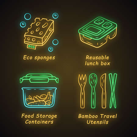 Zero waste swaps handmade neon light icons set. Eco friendly, natiral products. Recycling materials. Eco sponges, reusable lunch box, food containers. Glowing signs. Vector isolated illustrations  イラスト・ベクター素材