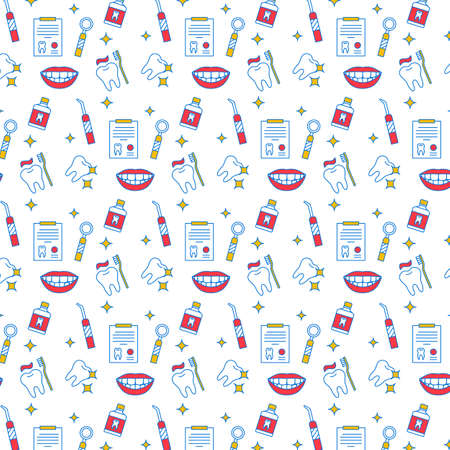 Dental care seamless color pattern. Teeth hygiene, treatment. Practice for healthy teeth. Oral health background. Dentistry wrapping paper, wallpaper vector fill. Stomatology simple icons, flat style  イラスト・ベクター素材