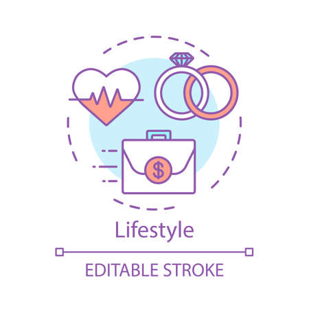 Lifestyle concept icon. Healthy family, marriage, earning money idea thin line illustration. Family, work, health balance, harmony vector isolated outline drawing. Editable stroke Çizim