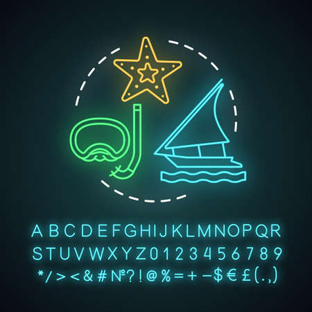 Small ship expedition neon light concept icon. Travel experience idea. Marine tourism. Scuba diving. Ocean exploration. Glowing sign with alphabet, numbers and symbols. Vector isolated illustration Illustration