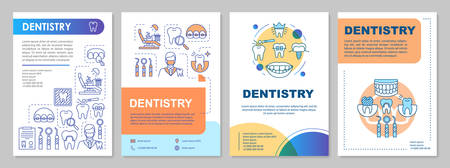 Dentistry brochure template layout. Dental treatment. Flyer, booklet, leaflet print design with linear illustrations. Vector page layouts for magazines, annual reports, advertising posters