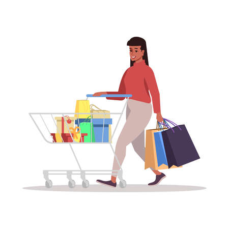 Woman with trolley flat vector illustration. Happy female at shopping isolated cartoon character on white background. Holiday preparing, gift boxes, paper bags. Fashion shop, grocery store