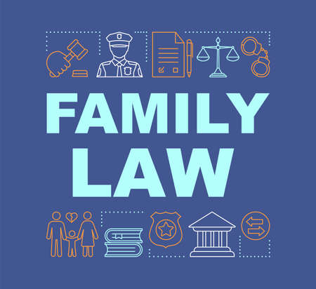 Family law word concepts banner. Separation agreement. Child custody. Adoption. Presentation, website. Isolated lettering typography idea with linear icons. Divorce. Court. Vector outline illustration