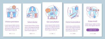Centre de chirurgie plastique intégrant l'écran de la page de l'application mobile avec des concepts linéaires. Instructions graphiques en cinq étapes. Modèle vectoriel UX, UI, GUI avec illustrations