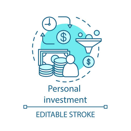 Personal investment concept icon. Management. Asset performance. Financing, production, profit. Business process idea thin line illustration. Vector isolated outline drawing. Editable stroke