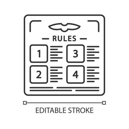 Flight rules linear icon. Table with statute. Airplane adjustment. Plane security. Jet safety regulations. Thin line illustration. Contour symbol. Vector isolated outline drawing. Editable stroke