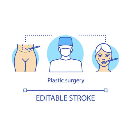 Plastic surgery concept icon. Human body restoration idea thin line illustration. Cosmetic procedures. Enhancing appearance. Vector isolated outline drawing. Editable stroke 일러스트