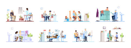 Visiting clinic flat vector illustrations set. Doctors, patients isolated cartoon characters on white background. Medical exam. Ophthalmologist, cardiologist, dermatologist, surgeon, pediatrician Иллюстрация