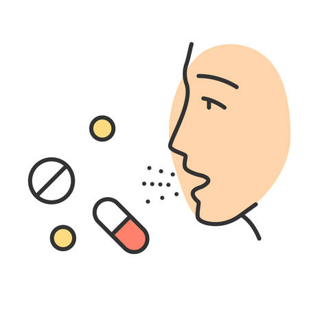 Drug allergies color icon. Allergic reaction to medicine. Hypersensitivity of immune system. Allergy medications. Allergen influence. Medical problem. Isolated vector illustration