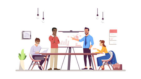 Business training flat vector illustration. Corporate training, conference, business meeting. Coworkers, partners, colleagues discussing task isolated cartoon characters. Office work, teamwork concept