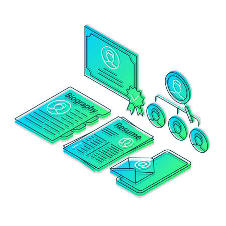 HR agency isometric color vector illustration. Headhunting, recruitment, employment service, hiring. Resume, CV linear icons infographic. Job search 3d concept. Gradient isolated design elements Vektorové ilustrace