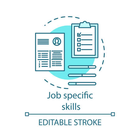 Job specific turquoise skills concept icon. Company recruitment, hiring. Job interview, candidates cv idea thin line illustration. Employees resume vector isolated outline drawing. Editable stroke
