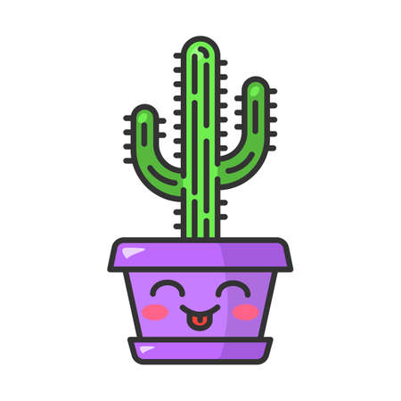 Saguaro cute kawaii vector character. Cactus with smiling face. Embarrassed home cacti with tongue out. Flushed tropical plant in pot. Funny emoji, emoticon. Isolated cartoon color illustration