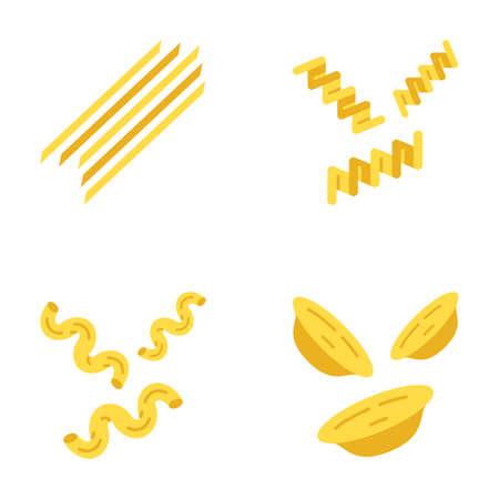 Pasta noodles flat design long shadow color icons set. Spaghetti, fusilli, cavatappi, orecchiette. Italian dried dough food. Traditional Mediterranean macaroni. Vector silhouette illustrations