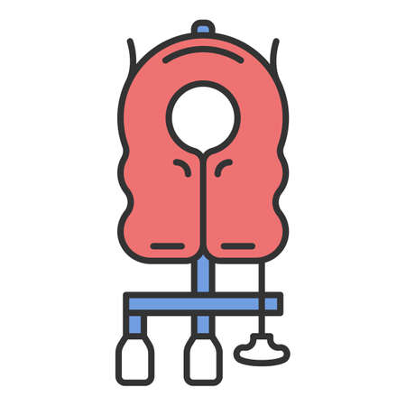 Aircraft passenger life vest color icon. Airplane lifesaver. Plane safeness. Safety measures. Aviation service. Aircraft travel. Journey. Airline facilities. Isolated vector illustration
