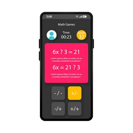 Math games smartphone interface vector template. Mobile educational app page black design layout. Counting exercise screen. Flat UI for calculating application. Puzzle question phone display