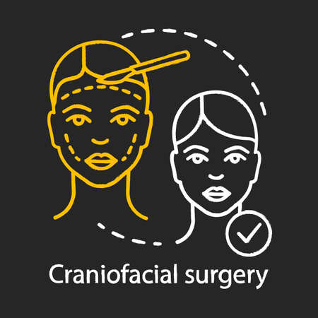 Craniofacial surgery chalk icon. Head, face, neck deformities. Plastic and reconstructive surgery. Plastic operation center service. Isolated vector chalkboard illustration