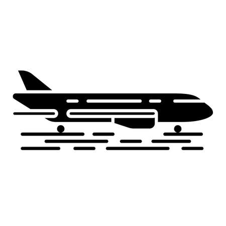 Plane on ground glyph icon. Jet runway. Airplane landing strip. Air terminal. Aviation service. Aircraft travel. Airliner journey. Silhouette symbol. Negative space. Vector isolated illustration